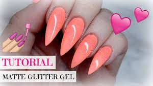 tutorial coral peach pointy nails with matte glitter light