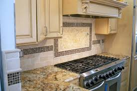 stunning backsplash behind stove on kitchen with residential