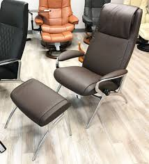 Brown Leather Recliner Chair Sale Stressless You James Aluminum Recliner Chair In Batick Brown