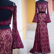 open back lace prom dresses 2k17 with long bell sleeves and empire