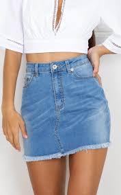 denim skirts youll be missed denim skirt in mid wash showpo
