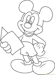 mickey mouse reading a book coloring page free mickey mouse