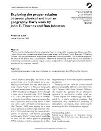 The Interplay Of Physical And Exploring The Proper Relation Between Physical And Human Geography