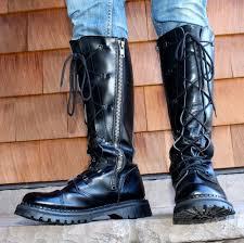 s boots lace s 16 black gripfast steunk grunge rock lace boots