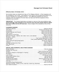 Water Damage Estimate Template by Sle Estimate Sheet 9 Documents In Excel Pdf