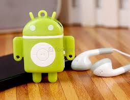 mp3 android android robot shaped mini mp3 player with tf card reader green