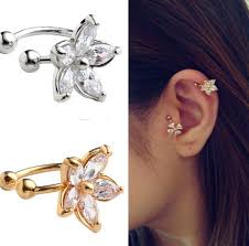 ear cuffs for pierced ears aliexpress buy 1pc women s fashion cz flower u shape