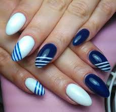simple blue nail art with white paint picsmine