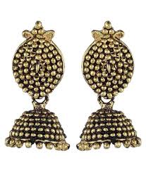 buy jhumka earrings online crazytowear black metal golden metal jhumka earring buy