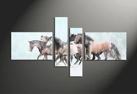 4 piece animal wildlife horse snow blue multi panel canvas