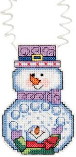 wizzers snowman with snowballs counted cross stitch 3 x2