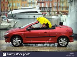 peugeot yellow a female with a yellow umbrella driving a peugeot 206 coupe stock