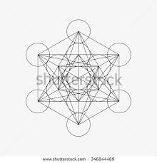 metatrons cube flower life vector illustration stock vector