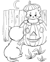 funny pritable kitten pumpkin coloring animal cute 8