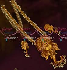 big size necklace images Nl13721 lord ganapathy design 3d emboss big size pendant pearl JPG
