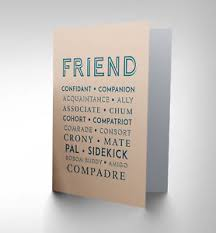 new best friend crony pal mate words greetings greeting card