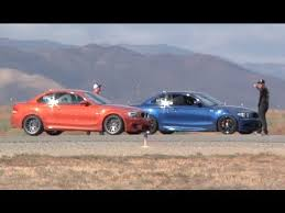 fastest bmw 135i 450 hp bmw 135i vs 440 hp bmw 1m coupe half mile runway drag race