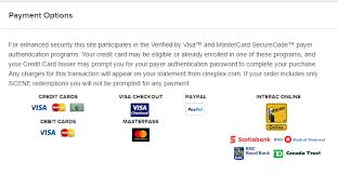 cineplex online what forms of payment are accepted for online tickets cineplex