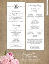 printed wedding programs handwritten calligraphy wedding programs 5x5 folded or 4 25x11