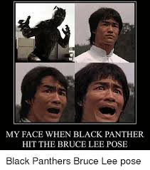 Funny Panthers Memes - my face when black panther hit the bruce lee pose funny meme on
