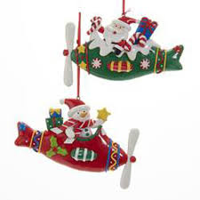 santa or snowman airplane ornaments colorful aviation
