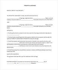 marriage contract template prenuptial agreement sample prenuptial
