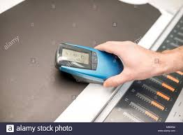 color spectrometer measuring depth of the black color with spectrometer tool stock
