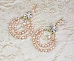 Chandelier Pearl Earrings For Wedding Bridal Champagne Pearls Earrings Wedding Vintage Beaded Chandelier