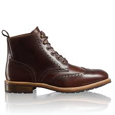 monty hi brogued hiker in brown leather russell u0026 bromley