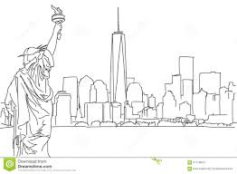 free hand sketch of new york city skyline vector scribble stock