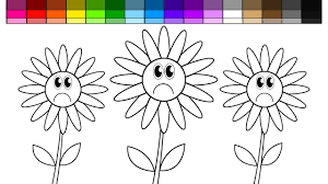 learn colors for kids and color sad sun flowers coloring page