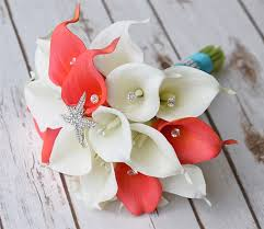 white calla white and coral calla lilies and starfish brooch real touch silk