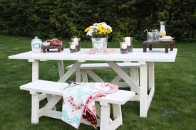 Plans For Picnic Table With Attached Benches by Ana White Providence Table Diy Projects