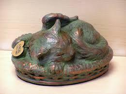 cat cremation pet urn verdigris sleeping angel cat cremation urn