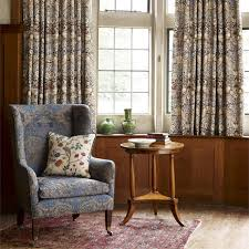 English Country Window Treatments by Strawberry Thief Furnishing Fabric From The Morris U0026 Co Archive