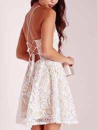 a line halter short ivory criss cross straps lace sleeveless