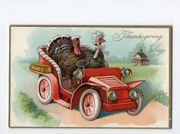 thanksgiving day raphael tuck s postcard embossed turkey driving car
