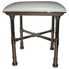 Vanity Stool Chrome Faux Bamboo Chrome X Base Mid Century Sculptural Vanity Stool At