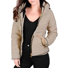 womens la s bubble fur collar quilted zip up padded warm puffer