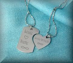his and hers dog tags his and hers the minnis dog tag heart small necklaces engraved