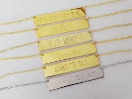 Custom Bar Necklace Personalized Bar Necklace Name Bar Necklace Name Plate Necklace