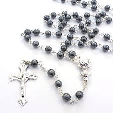 hematite rosary christian genuine black hematite rosary silver metal