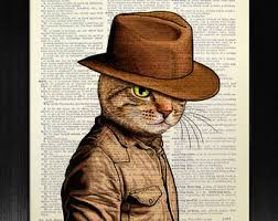 geekery cat lover gift man office decor steampunk hat cat
