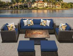 Fire Patio Table by Tk Classics Venice Outdoor Wicker Patio 8 Piece Fire Pit Seating
