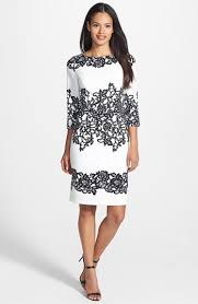 adrianna papell placed print sheath dress cream and black print
