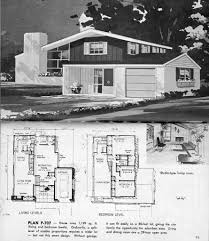 retro ranch house plans vintage house plans mid century homes split level 1960 floor