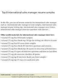 sample international resume top 8 international sales manager