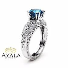 2 carat white gold engagement ring blue topaz engagement ring 14k white gold 2 carat topaz
