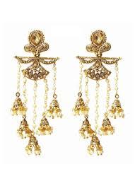 dangler earrings gold plated pearl dangler earrings
