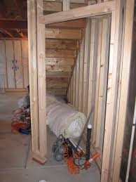 storage space under stairs framing stage my basement framing